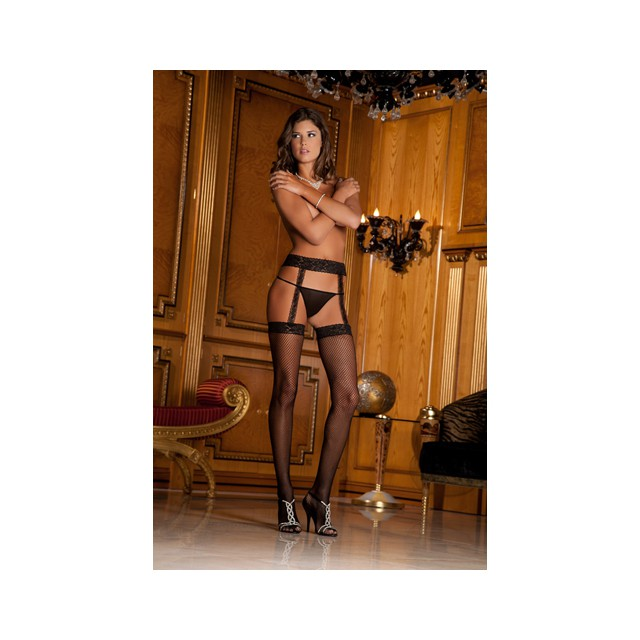Fishnet thigh high with...